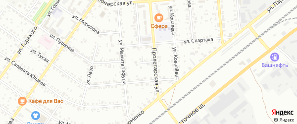 Пролетарская улица на карте Сибая с номерами домов
