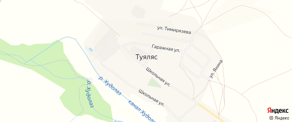Карта села Туяляса города Сибая в Башкортостане с улицами и номерами домов
