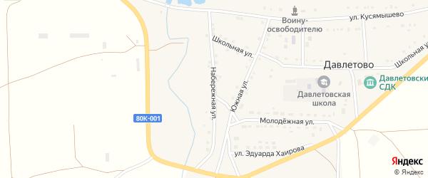Набережная улица на карте села Давлетово с номерами домов