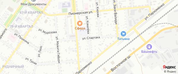 Улица Ковалева на карте Сибая с номерами домов