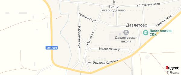 Южная улица на карте села Давлетово с номерами домов
