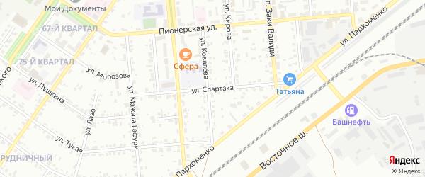 Улица Спартака на карте Сибая с номерами домов
