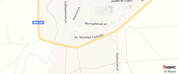 Улица Эдуарда Хаирова на карте села Давлетово с номерами домов