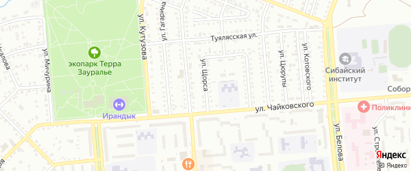 Улица Щорса на карте Сибая с номерами домов