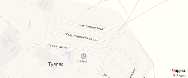 Красноармейская улица на карте села Туяляса с номерами домов