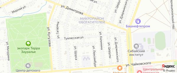 Туялясская улица на карте Сибая с номерами домов
