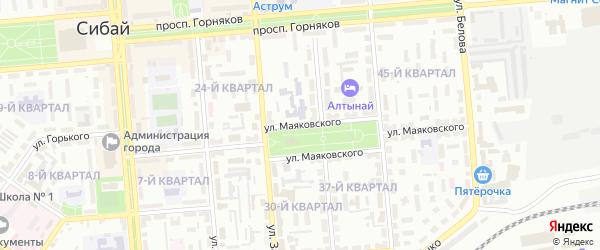 Улица Маяковского на карте Сибая с номерами домов