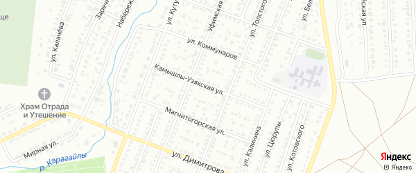 Камышлы-Узякская улица на карте Сибая с номерами домов