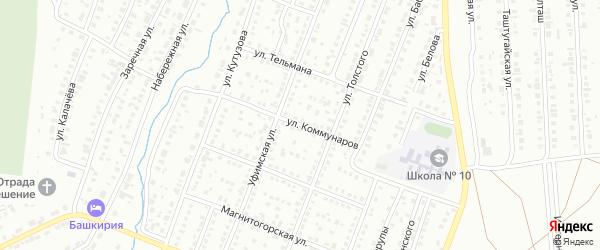 Улица Коммунаров на карте Сибая с номерами домов