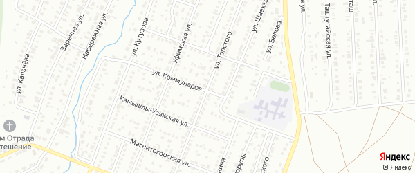 Улица Толстого на карте Сибая с номерами домов
