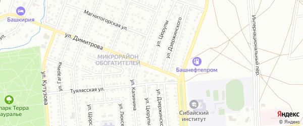 Улица Цюрупы на карте Сибая с номерами домов