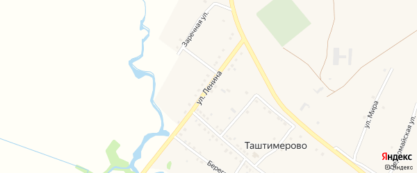 Улица Ленина на карте деревни Таштимерово с номерами домов