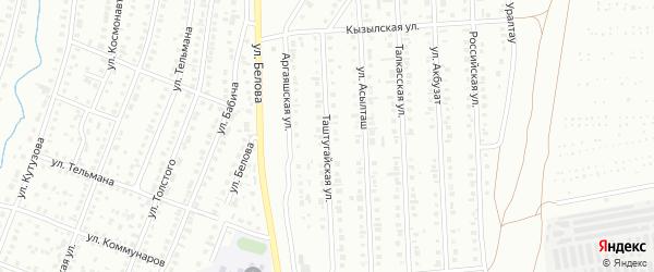 Таштугайская улица на карте Сибая с номерами домов