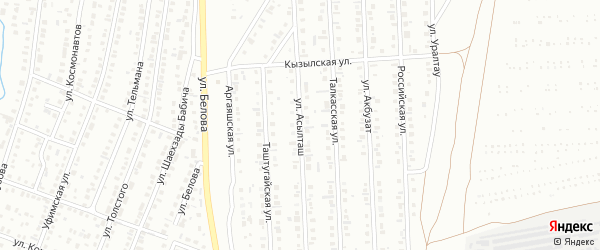 Улица Асылташ на карте Сибая с номерами домов