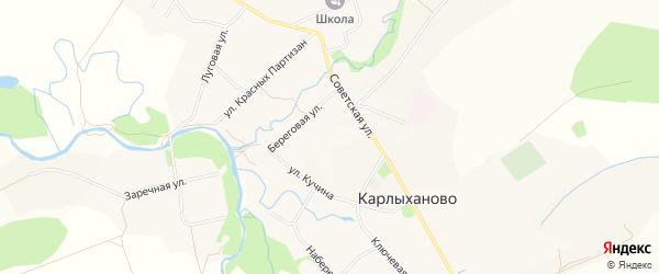 Карта села Карлыханово в Башкортостане с улицами и номерами домов
