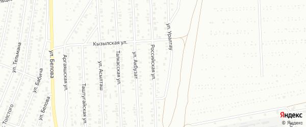 Российская улица на карте Сибая с номерами домов