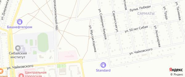 Улица Мустая Карима на карте Сибая с номерами домов