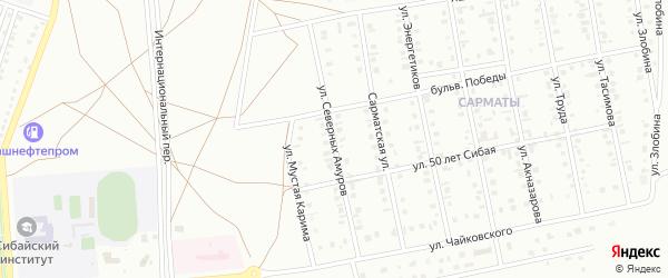 Улица Северных Амуров на карте Сибая с номерами домов
