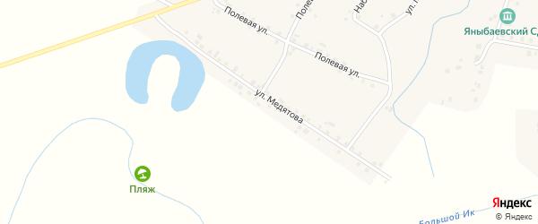 Улица Медятова на карте села Яныбаево с номерами домов
