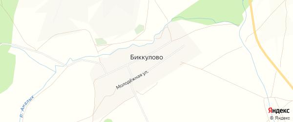Карта деревни Биккулово в Башкортостане с улицами и номерами домов