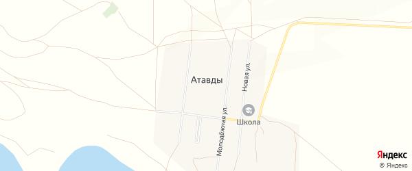 Карта деревни Атавды в Башкортостане с улицами и номерами домов