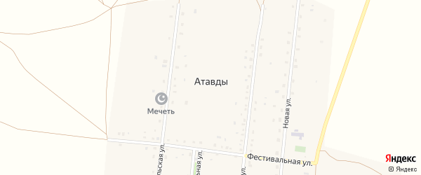 Комсомольская улица на карте деревни Атавды с номерами домов