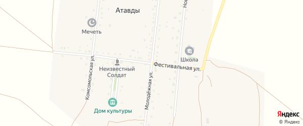 Молодежная улица на карте деревни Атавды с номерами домов