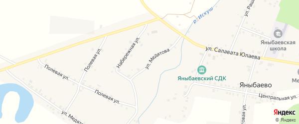 Набережная улица на карте села Яныбаево с номерами домов
