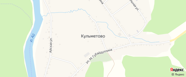 Улица М.Губайдуллина на карте деревни Кульметово с номерами домов