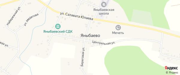 Школьный переулок на карте села Яныбаево с номерами домов