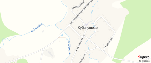 Улица Рафиса Шакирова на карте деревни Кубагушево с номерами домов