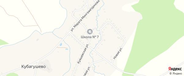 Солнечная улица на карте деревни Кубагушево с номерами домов