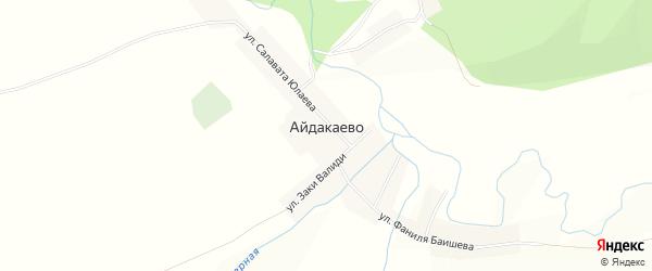 Карта деревни Айдакаево в Башкортостане с улицами и номерами домов