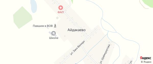 Улица Нажипа Мугафина на карте деревни Айдакаево с номерами домов