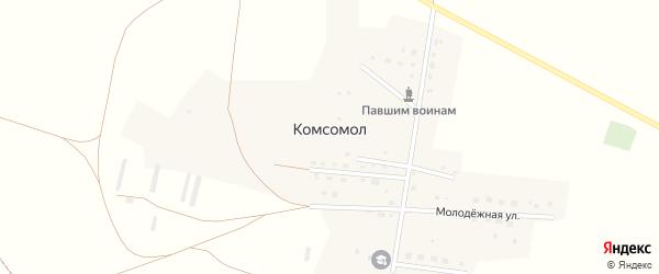 Улица Ветеранов на карте деревни Комсомола с номерами домов