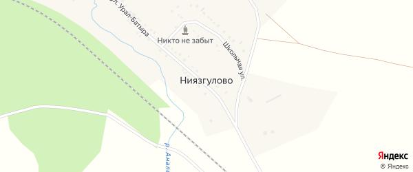 Заречная улица на карте деревни Ниязгулово с номерами домов