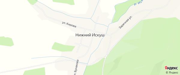 Карта села Нижнего Искуша в Башкортостане с улицами и номерами домов