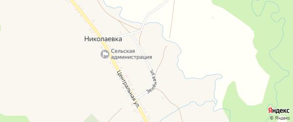 Зеленая улица на карте села Николаевки с номерами домов