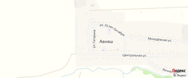 Улица Гагарина на карте деревни Авняша с номерами домов