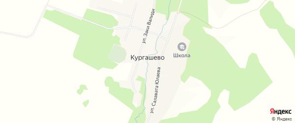 Карта деревни Кургашево в Башкортостане с улицами и номерами домов