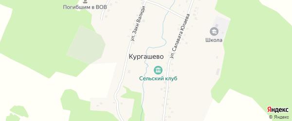 Улица Мажита Гафури на карте деревни Кургашево с номерами домов