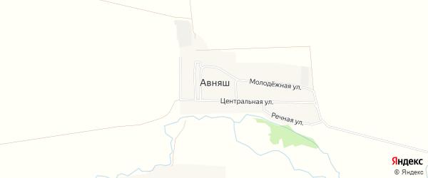 Карта деревни Авняша в Башкортостане с улицами и номерами домов