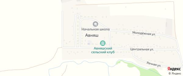 Степная улица на карте деревни Авняша с номерами домов