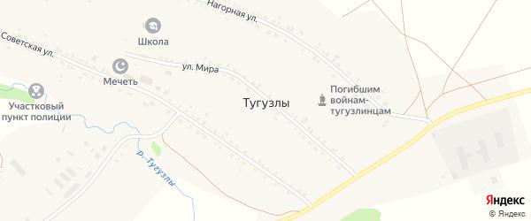Сосновая улица на карте деревни Тугузлы с номерами домов