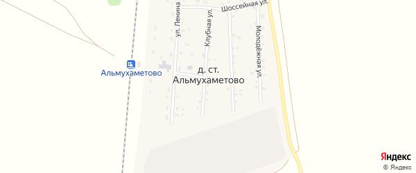 Клубная улица на карте деревни Станции Альмухаметово с номерами домов