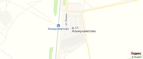 Карта деревни Станции Альмухаметово в Башкортостане с улицами и номерами домов