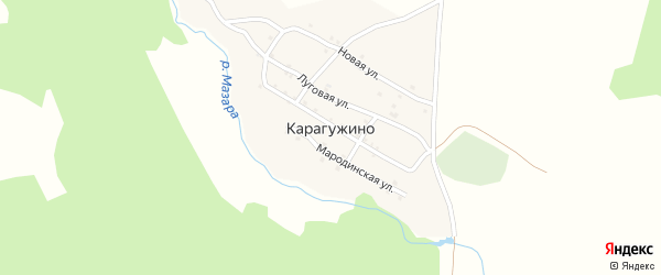 Хвойная улица на карте деревни Карагужино с номерами домов