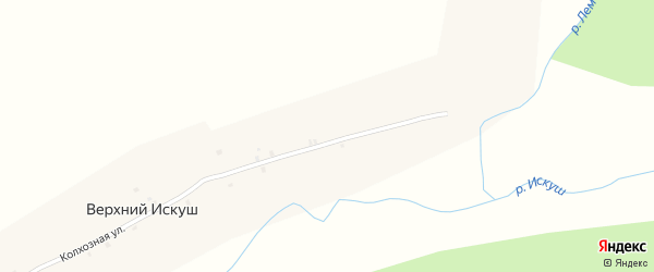 Колхозная улица на карте села Верхнего Искуша с номерами домов
