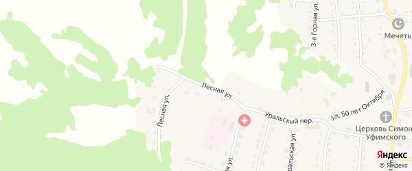 Лесная улица на карте села Миндяка с номерами домов