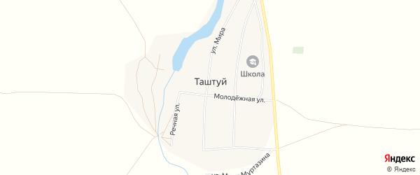 Карта деревни Таштуя в Башкортостане с улицами и номерами домов